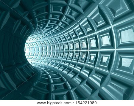 A tungsten blue tiled tunnel 3D illustration.