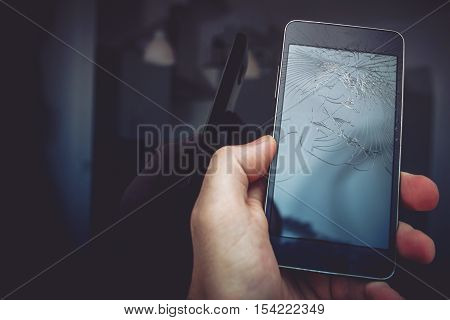 Broken Smartphone Mobile Device. Broken Mobile Phone Screen.