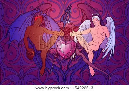 Angel and demon. Pinup and art Nouveau eclectic style. Intricate hand drawing, rich detailed beckground. St Valentine's day gay friendly celebration design. Tattoo design. EPS10 vector illustration