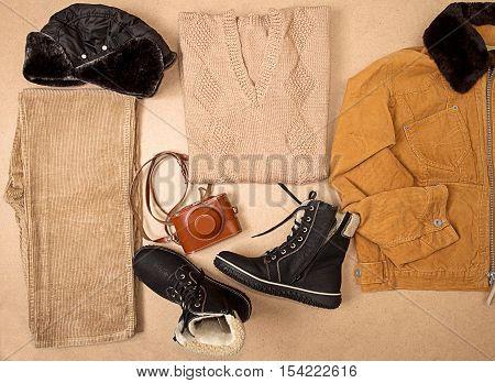 Set Of Man Cloth And Footwear And Camera