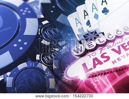 Casino Games Concept 3D Illustration with Famous Las Vegas Sign and Casino Chips.