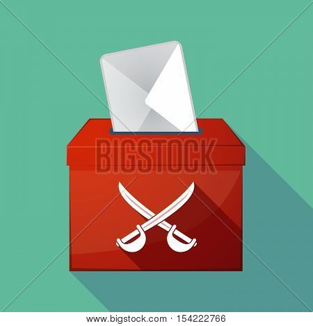 Long Shadow Ballot Box With  Two Swords Crossed