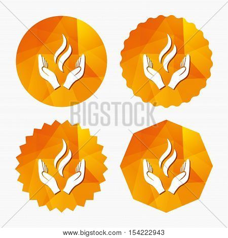 Energy hands sign icon. Power from hands symbol. Triangular low poly buttons with flat icon. Vector
