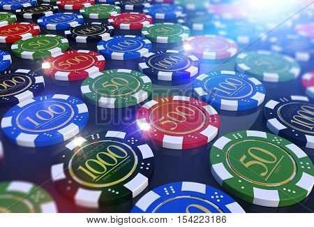 Colorful Casino Chips Table. Roulette and Poker Chips 3D Render Illustration.