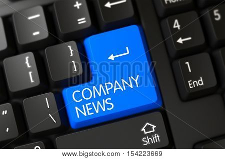 Computer Keyboard with Hot Button for Company News. 3D Render.