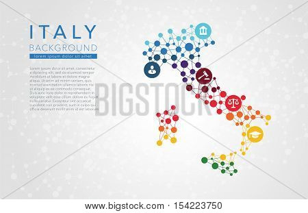 Italy dotted vector background conceptual infographic report