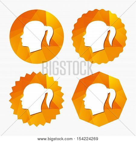 Head sign icon. Female woman human head with pigtail symbol. Triangular low poly buttons with flat icon. Vector