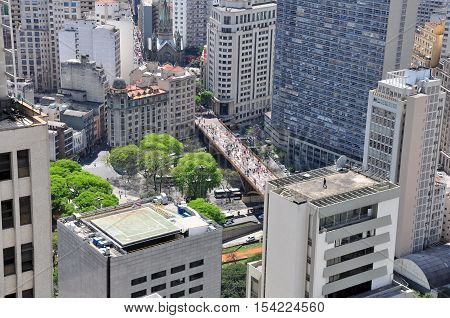 View of Sao Paulo skyline seen from the Banespa Building Brazil.