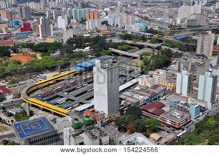 Aerial View of Dom Pedro II Bus Station Sao Paulo Brazil