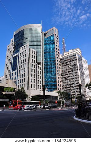 SAO PAULO - October 5: Commercial buildings on Avenida Paulista on 5 October 2014 in Sao Paulo Brazil. Avenida Paulista is is one of the most important avenues in Sao Paulo Brazil.