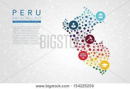 Peru dotted vector background conceptual infographic report
