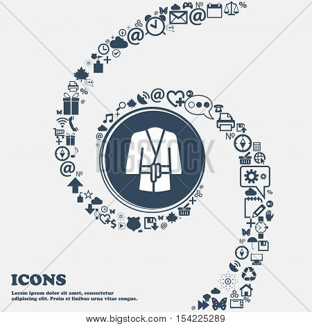 Bathrobe Icon In The Center. Around The Many Beautiful Symbols Twisted In A Spiral. You Can Use Each