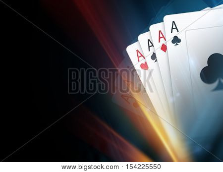 Poker Cards Dark Background Illustration with Light Streak. Poker Backdrop.