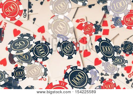 Poker Concept with Casino Chips 3D Render Illustration. Poker Game.