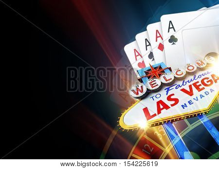 Black Poker and Roulette in Las Vegas Background with Copy Space Illustration.