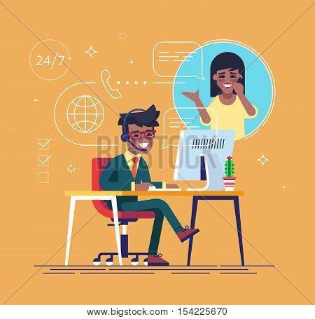 African american helpline operator with headset consulting a client. Online global tech support 24 on 7. Operator and customer. Technical support concept. Vector illustration in flat design.
