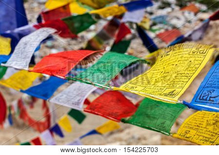 Tibetan Buddhism prayer flags (lungta) with