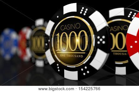 Poker and Roulette Casino Game Chips . One Thousand Chip at the Front. Las Vegas Chips Conceptual 3D Illustration.