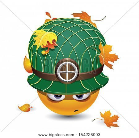 Illustration of a smiley dressed as soldier. Smiley with army helmet covered with leafs.