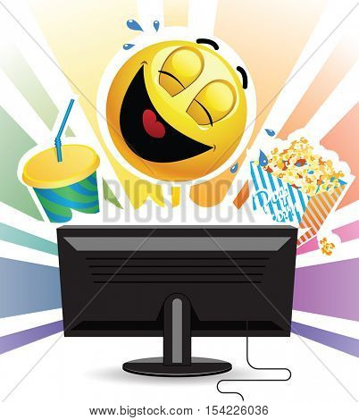 Smiley laughing while watching comedy movie on TV. Smiley ball watching a movie on tv and eating  popcorn.