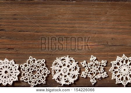 Snowflakes Wood Background Christmas Lace Snow Flakes Wooden Embroidered Holiday Ornament
