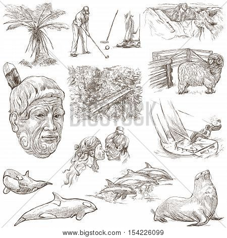 Travel series NEW ZEALAND. Pictures of Life. Collection of an hand drawn illustrations. Pack of full sized hand drawn illustrations. Set of freehand sketches. Drawing on white.