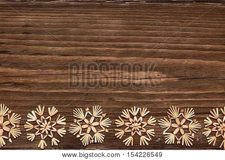 Snowflakes Wood Background Christmas Snow Flakes Winter Holiday Wooden Decoration