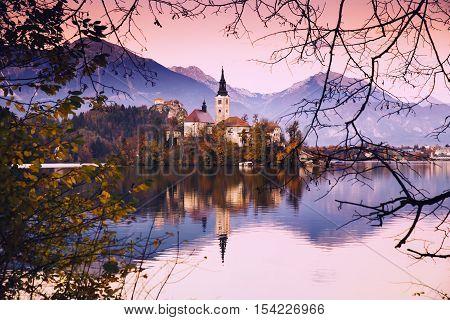 Amazing Bled Lake On Sunset, Slovenia, Europe