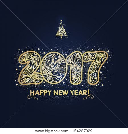 2017. Happy New Year background. The gold figures with a decorative ornament. Christmas design. Hand drawn text. Vector illustration
