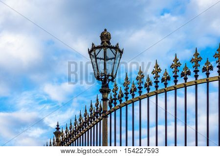 Historical fence with lantern architecture in Vienna at Hofburg Complex