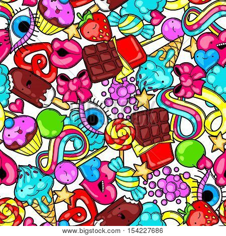 Seamless kawaii pattern with sweets and candies. Crazy sweet-stuff in cartoon style.