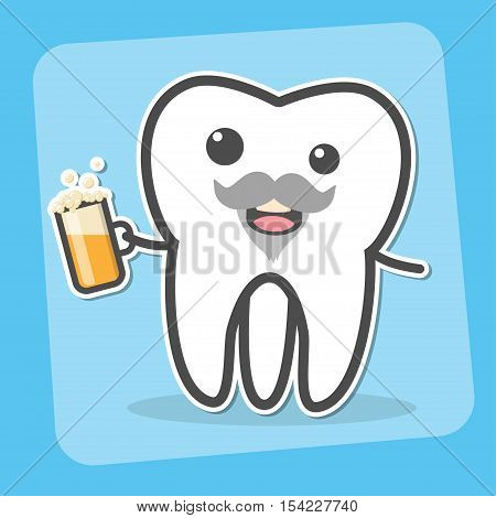 Drunk insane tooth with beer. Wisdom tooth can causes pain concept. Toothache. Dental vector illustration poster