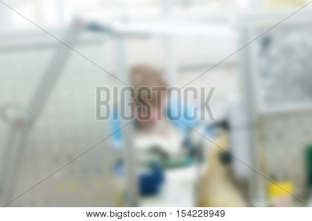 Electronics production plant theme creative abstract blur background with bokeh effect