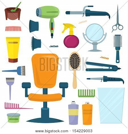 Professional hairdresser tools. Hairdresser tools fashion equipment set. Professional haircut scissors hairdresser tools. Hairdressing brush hairdresser tools stylist barber accessories vector.