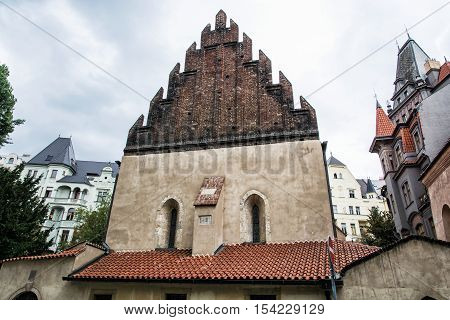 Old new synagogue near High synagogue in Prague Czech republic. Architectural theme. Religious architecture. Travel destination.