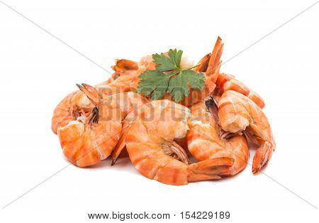boiled shrimp delicatessen seafood on white background