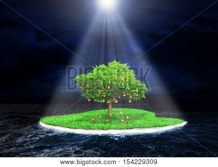 Concept of the promised land. Paradise island with a fruitful tree in the dark storm ocean background. Island incident light rays. Religion