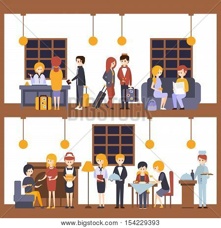 Two Illustrations, Scenes In The Hotel At Reception And Restaurant. Employees And Guests Of The Hotel Minimalistic Colorful Flat Vector Illustrations.