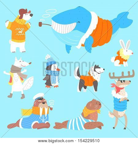 Arctic Animals Dressed In Human Clothes Set Of Illustrations. Cool Cute Cartoon Animal Characters Flat Vector Drawings In Childish Creative Style.