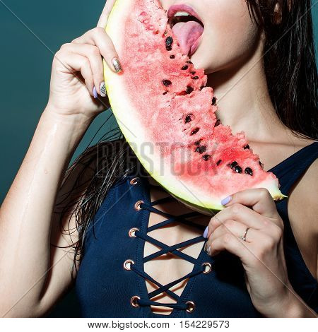 Pretty Girl On Sky With Watermelon