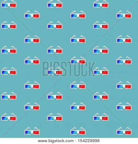 Film industry pattern. Glasses for film. 3d tv and cinema 3d movie and 3d cinema. Vector illustration