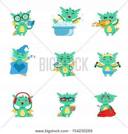 Little Dragon Everyday Activities And Emotions Set. Cute Detailed Stickers With Childish Fantastic Animal In Funny Situations.