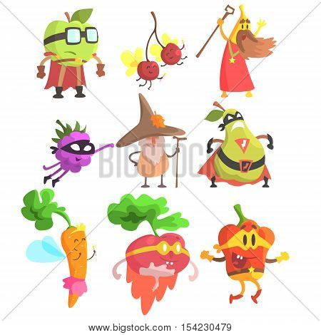 Silly Fantasy Fruit And Vegetable Characters Set. Vegetables As Magicians And Superheroes, Flat Geometric Design Childish Stickers On White Background.