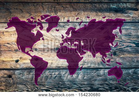 Abstract worldmap in purple color on old wood