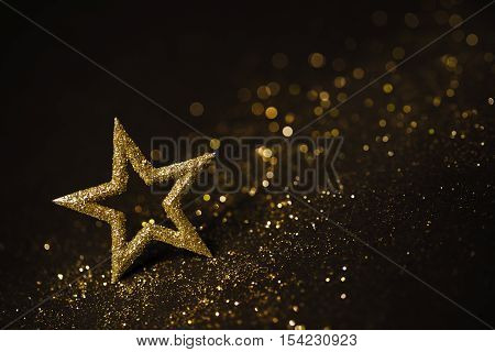 Star Abstract Decoration Lights Gold Sparkles Shine Blurred Background