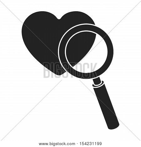 Searching a love icon in black style isolated on white background. E-commerce symbol vector illustration.