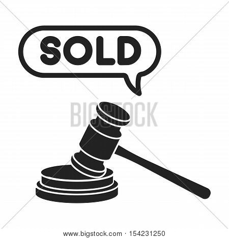 Auction hammer icon in black style isolated on white background. E-commerce symbol vector illustration.