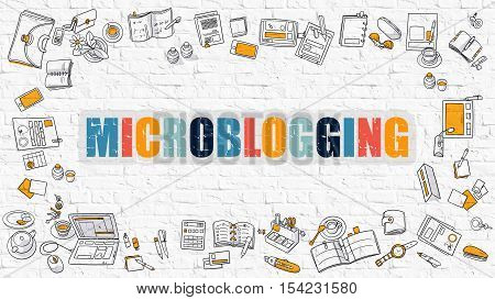 Microblogging Concept. Modern Line Style Illustation. Multicolor Microblogging Drawn on White Brick Wall. Doodle Icons. Doodle Design Style of  Microblogging  Concept.