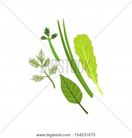 Herbs Product Rich In Folic Acid. Simple Colorful Flat Vector Illustration On White Background.