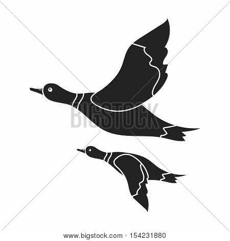 Ducks icon in black style isolated on white background. Hunting symbol vector illustration.